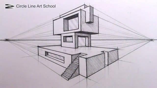 精彩手绘视频教程,如何2点透视手绘一栋建筑
