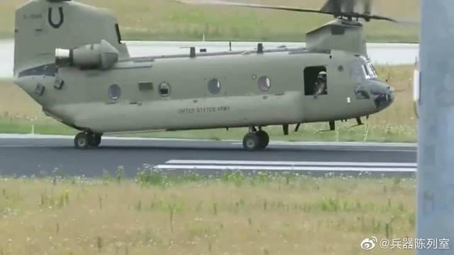 不愧是大名鼎鼎的支奴干直升机,就连滑行时都这么有气势