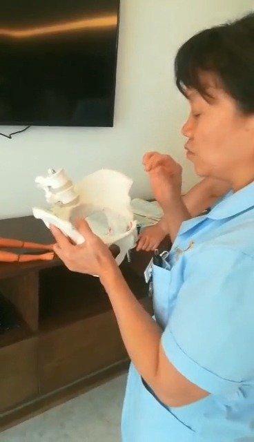 郑州万安妇产医院孙雪针护士长组织产房人员培训学习女性骨盆构造