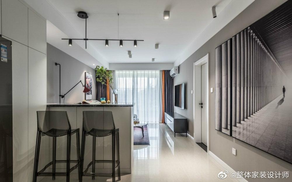 68㎡简约现代风二居室,高级灰暖心婚房