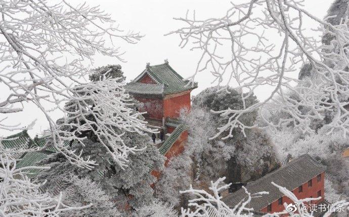 雾绕云缠峰翠秀, 游人自在画中行。雪后真如仙境一般,银装素裹