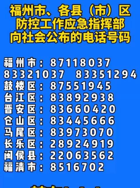 福州市以及各县(市)区防控工作应急指挥部,向社会公布的电话号码