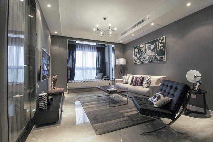 92㎡现代简约风格,灰度几何空间两居室装修设计案例