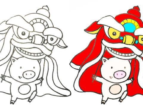 春节学画画——小猪舞狮简笔画,快画到手抄报上吧图片