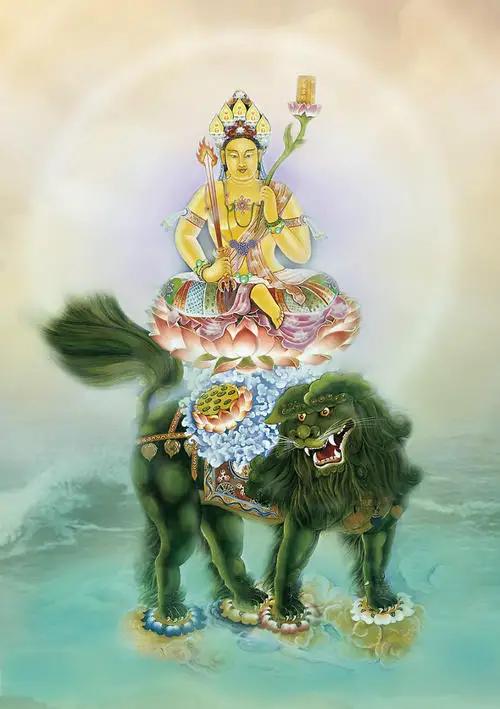 为子女祈福,文殊菩萨佛像前许愿祈福,保佑儿女懂事,孝顺,聪慧
