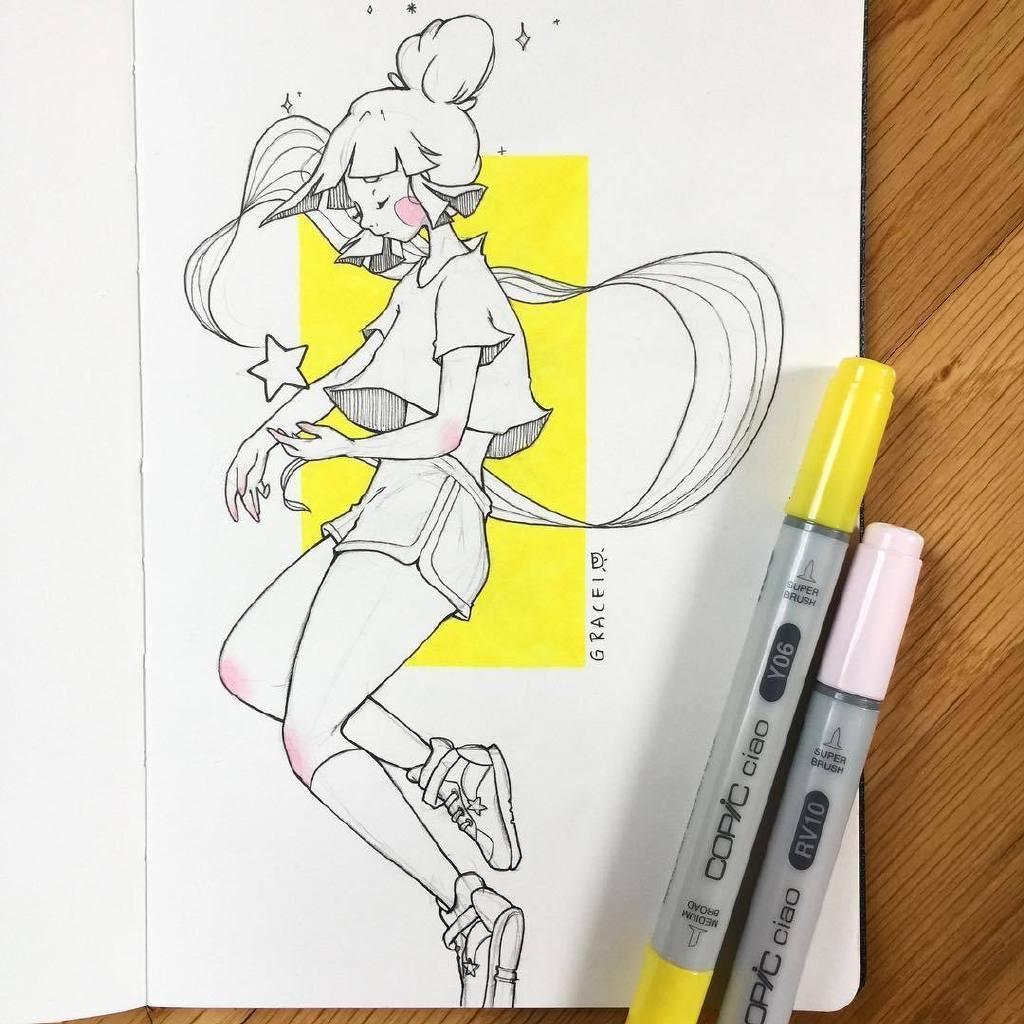 马克笔手绘插画.来自:画师chelsea