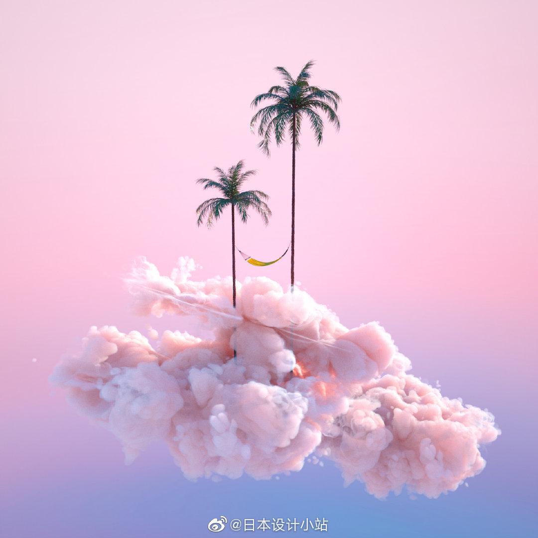 设计师Yomagick创作的超现实主义的梦幻景观。(ins:yomagick)