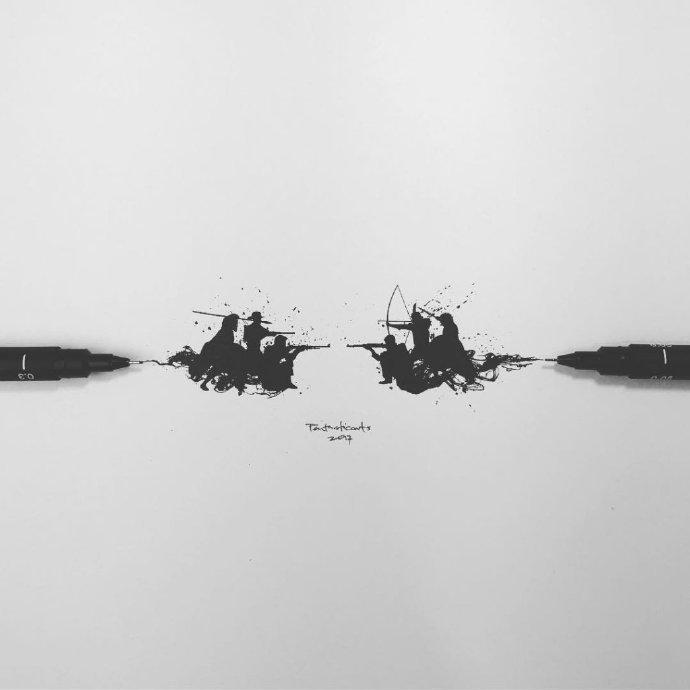 笔尖上的黑白插画    Joseph Catimbang