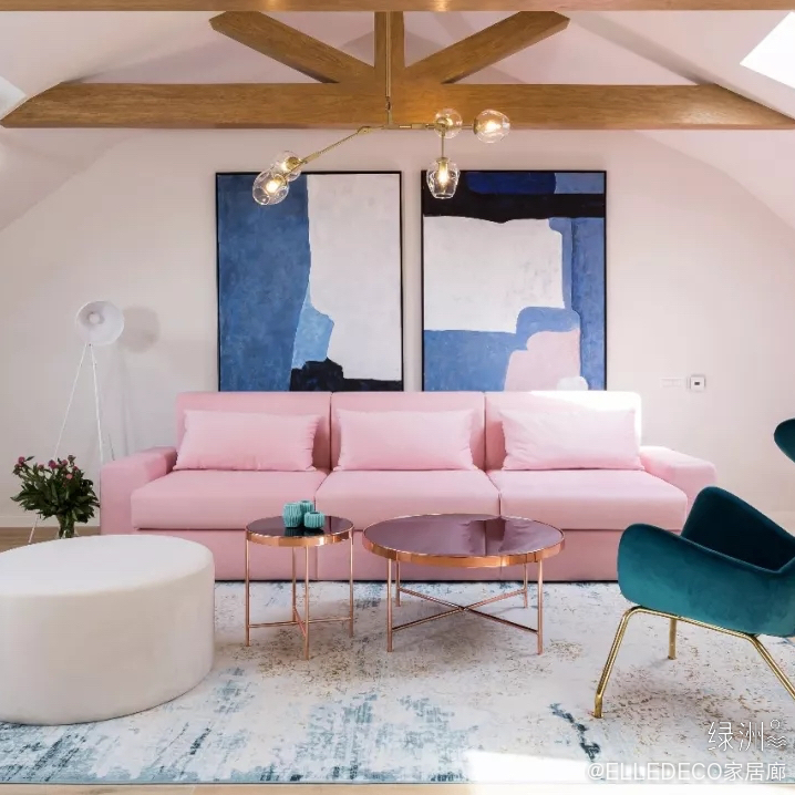罗马尼亚,70㎡粉色时尚loft公寓,轻松的周末小憩。(设计公司