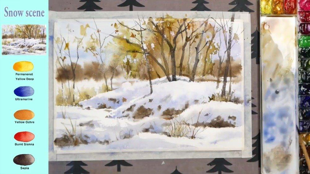 冬日雪景 水彩