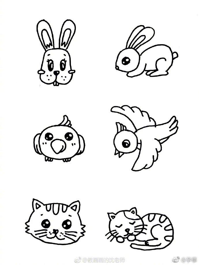 小动物手绘简笔画,可以让宝宝自己来填色哦