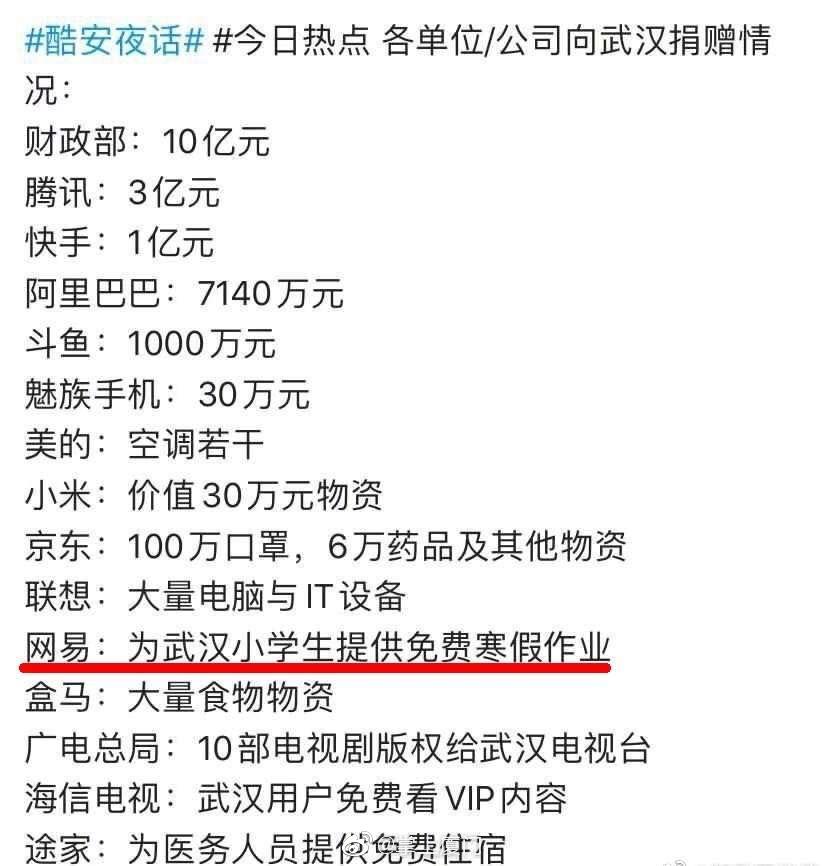 因武汉中小学校寒假延期,网易决定为武汉小学生捐赠免费寒假课程