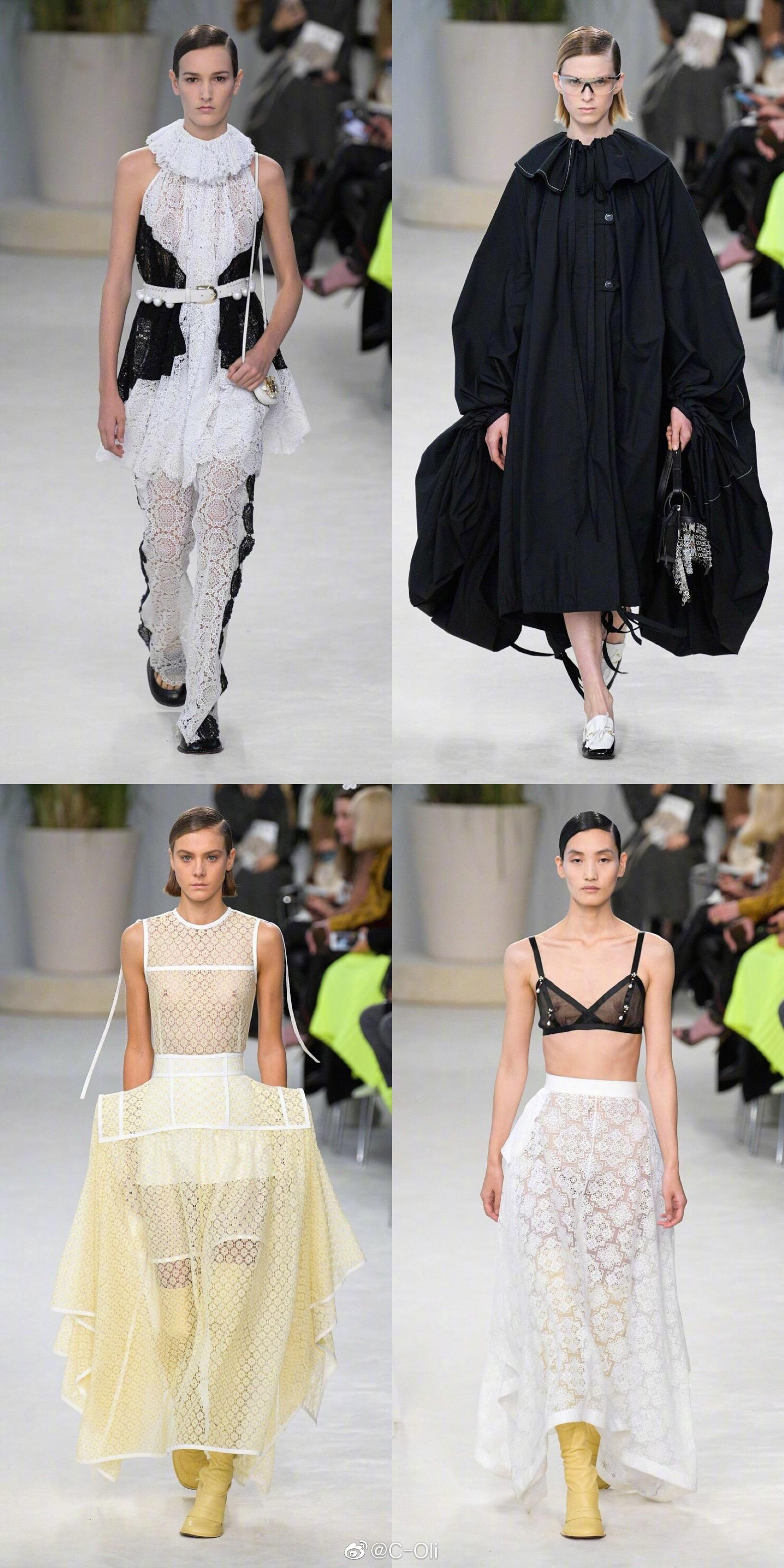 LOEWE S/S 2020  ||  大量蕾丝、薄纱、镂空以及透视元素的运用让这一