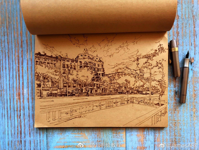 钢笔建筑风景 作者:JamesArt