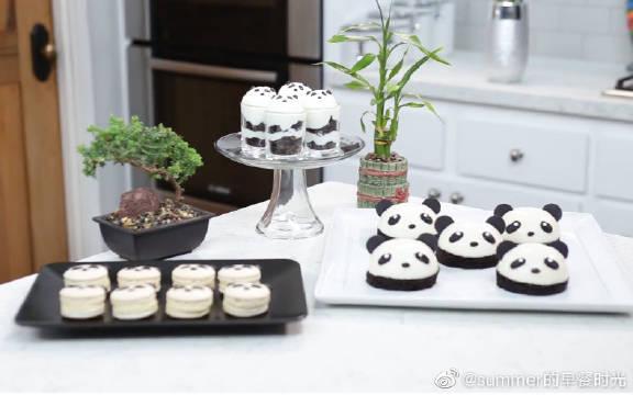 熊猫马卡龙+熊猫奶冻+熊猫布丁杯
