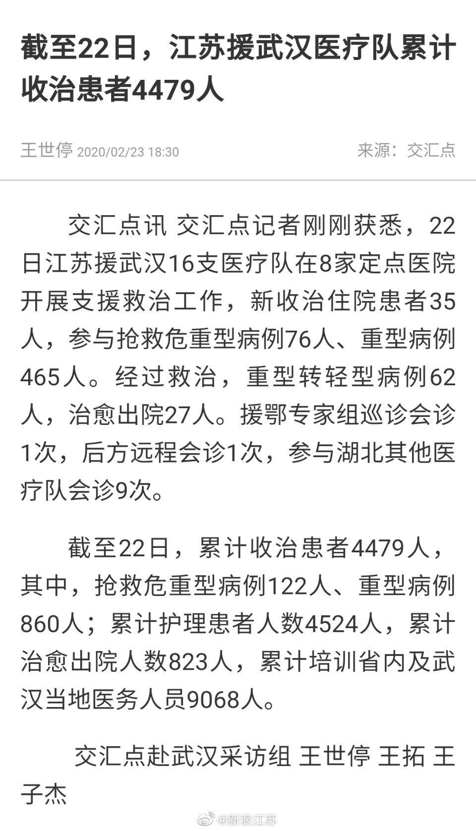 江苏援武汉医疗队累计收治患者4479人 治愈823人