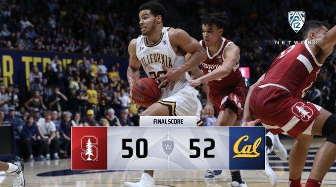加州大学伯克利分校52:50两分险胜斯坦福大学