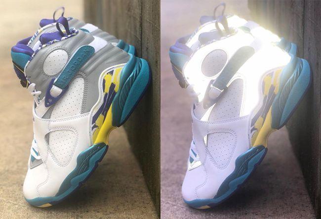 "3M 反光元素加持!Air Jordan 8 ""White Aqua"" 下月发售"