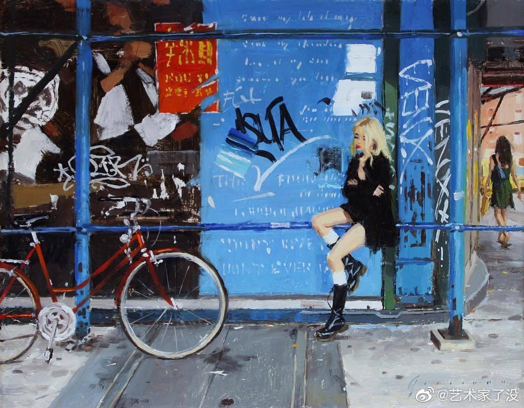 摇滚朋克风的油画画面