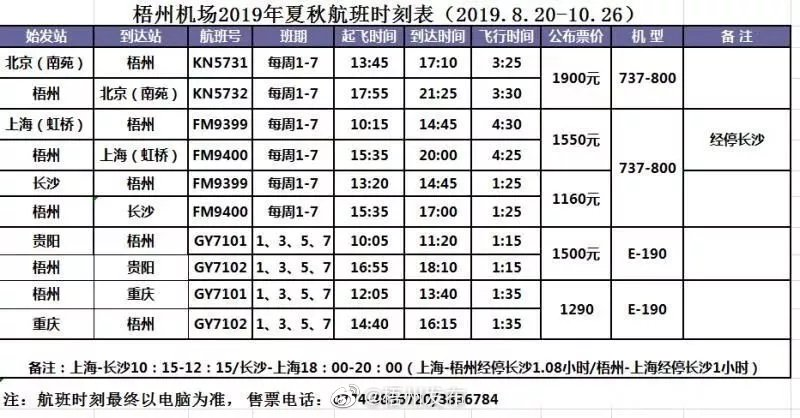 梧州往返福州航班停飞 | 梧州西江机场执行新的夏秋航班时刻表