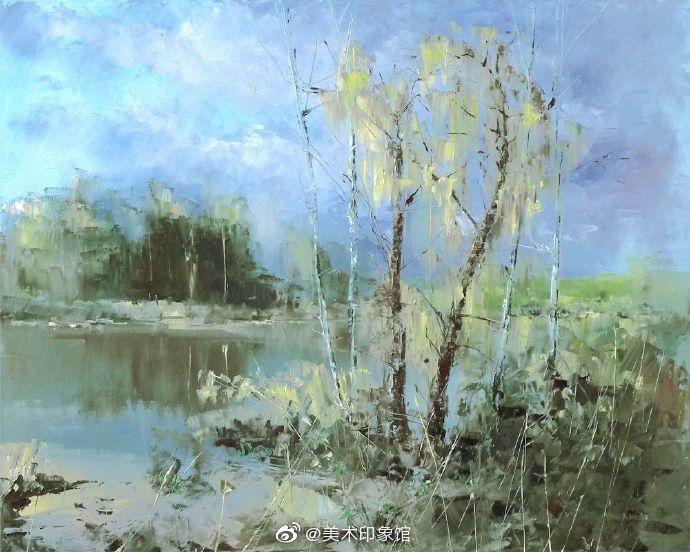 苍劲有力的风景油画