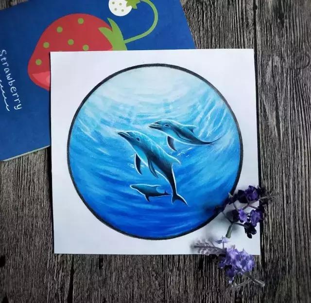 彩铅教程,教你画超漂亮的深海之魅-小海豚 鲸鱼 彩铅图片