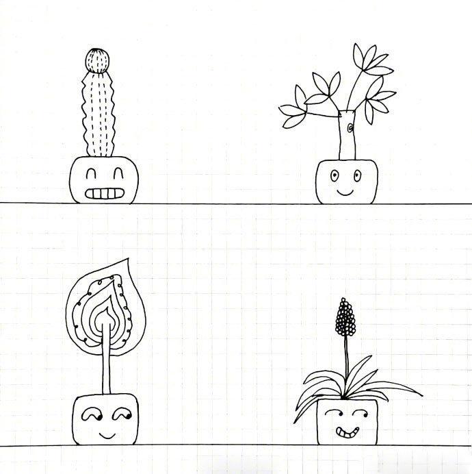 干净好看的简笔画盆栽