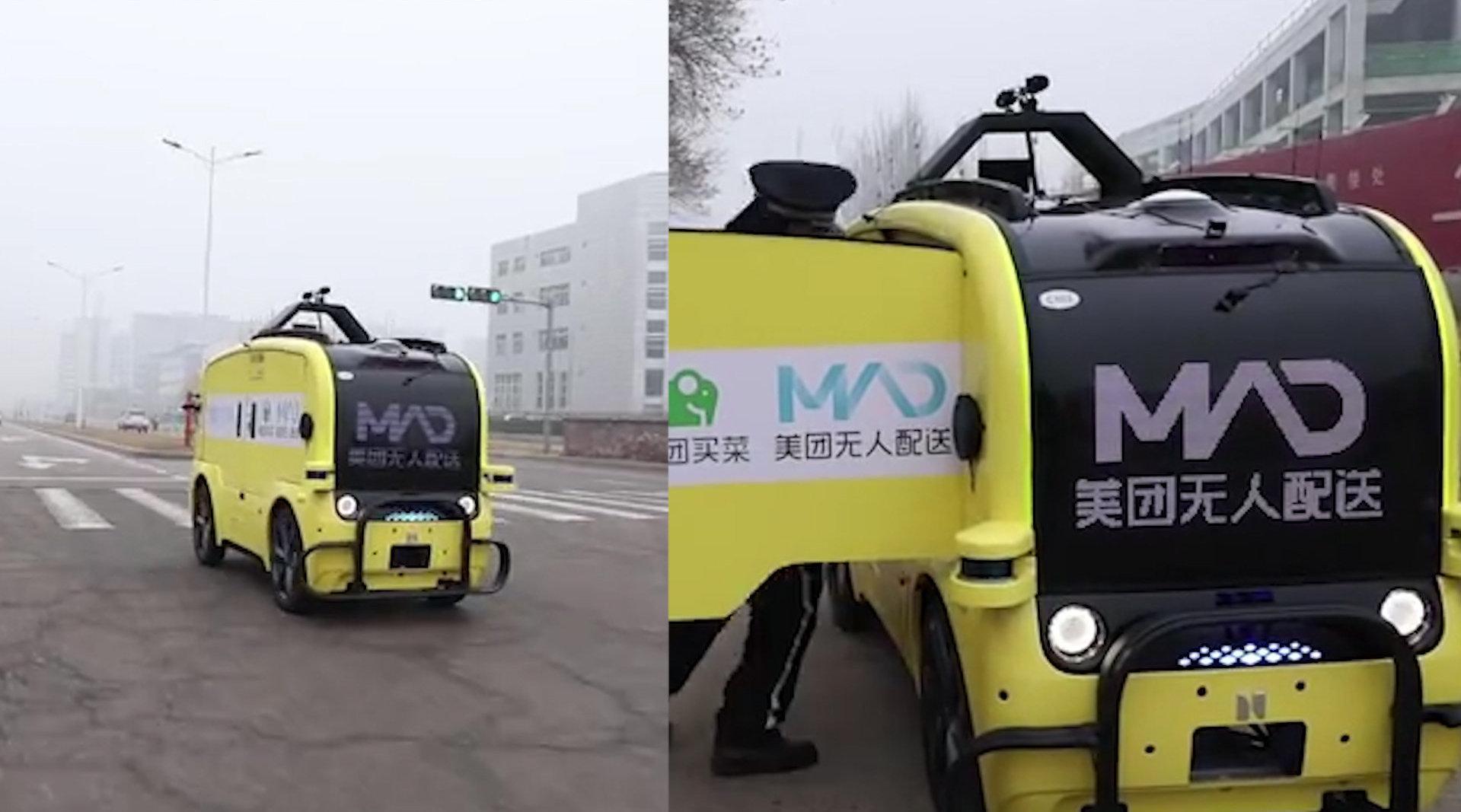 """无人车送菜!疫情期最""""酷""""外卖员出现在北京顺义街头"""