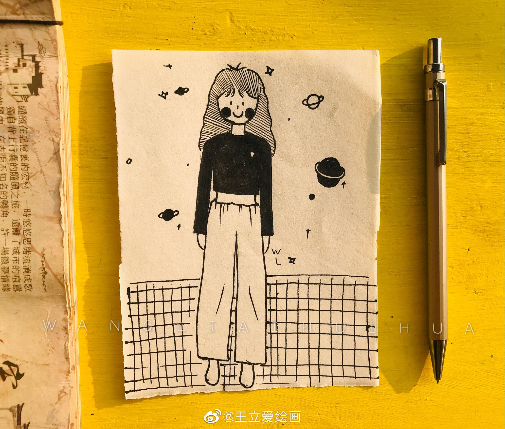 遇见春天的女孩 @王立爱绘画