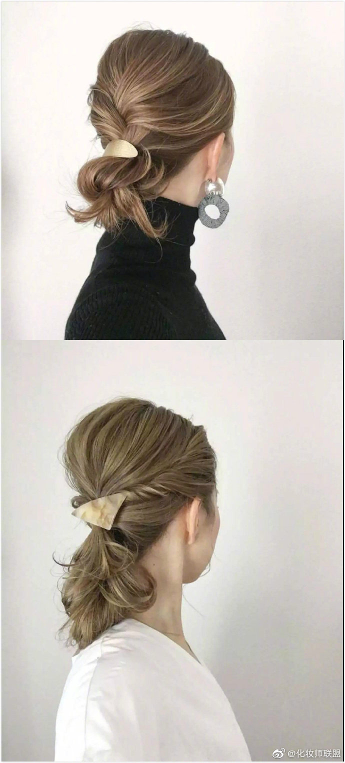 OL气质通勤扎发,金属色发卡绝配~