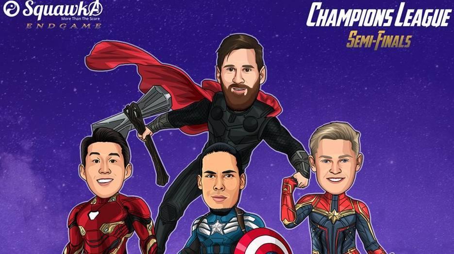 欧冠半决赛复联海报梅西=雷神孙兴慜=钢铁侠范迪克=美国队长德