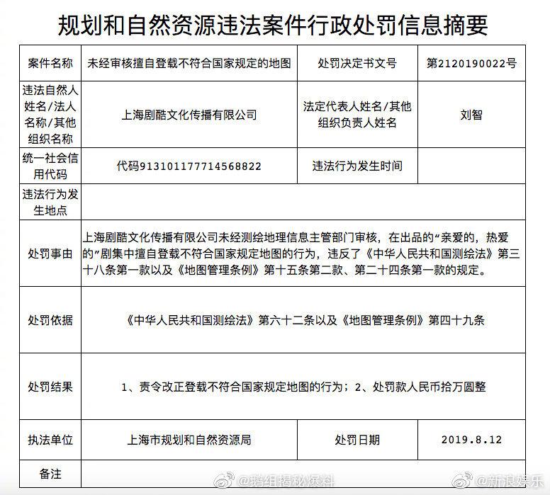 杨紫、李现主演的《亲爱的热爱的》因擅自登载不符合国家规定的地图