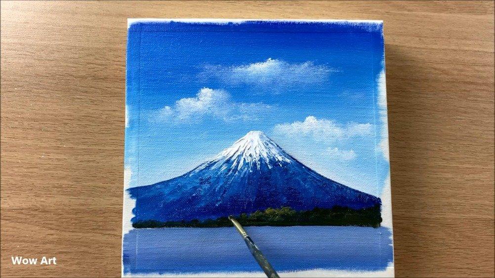 春天的富士山。舒缓的手绘油画过程,放松一下。(YTB:Wow Art)