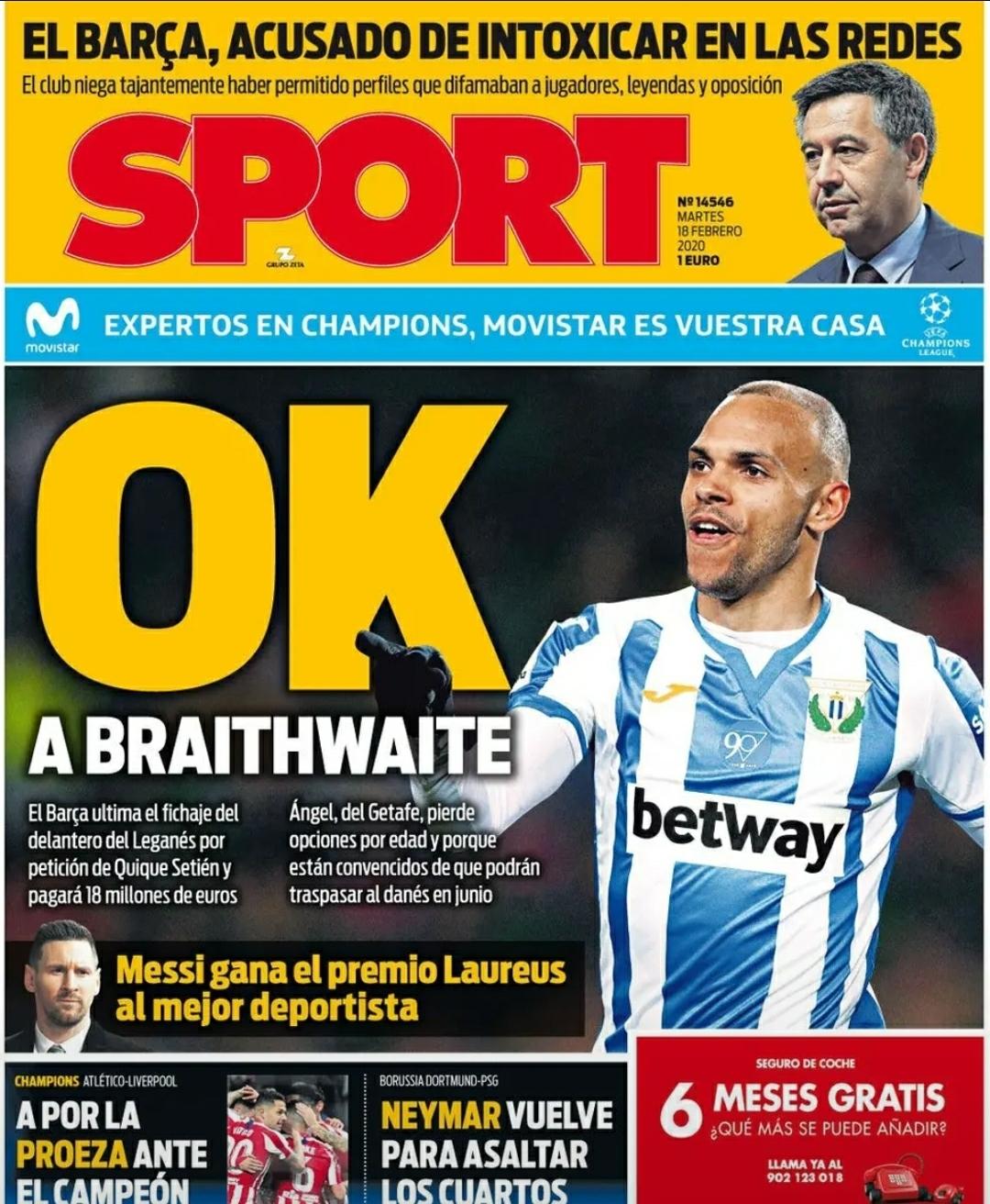 """2月18日的西班牙《每日体育报》打出了""""对布雷斯维特说OK""""的大标题"""