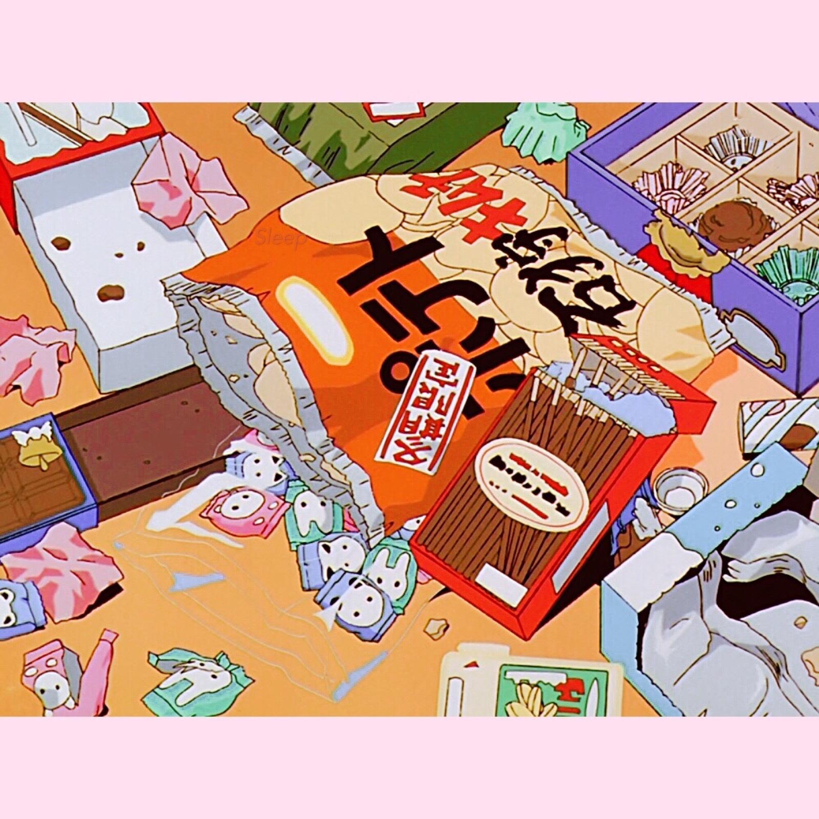 卡通动漫零食美食治愈系朋友圈背景图噢