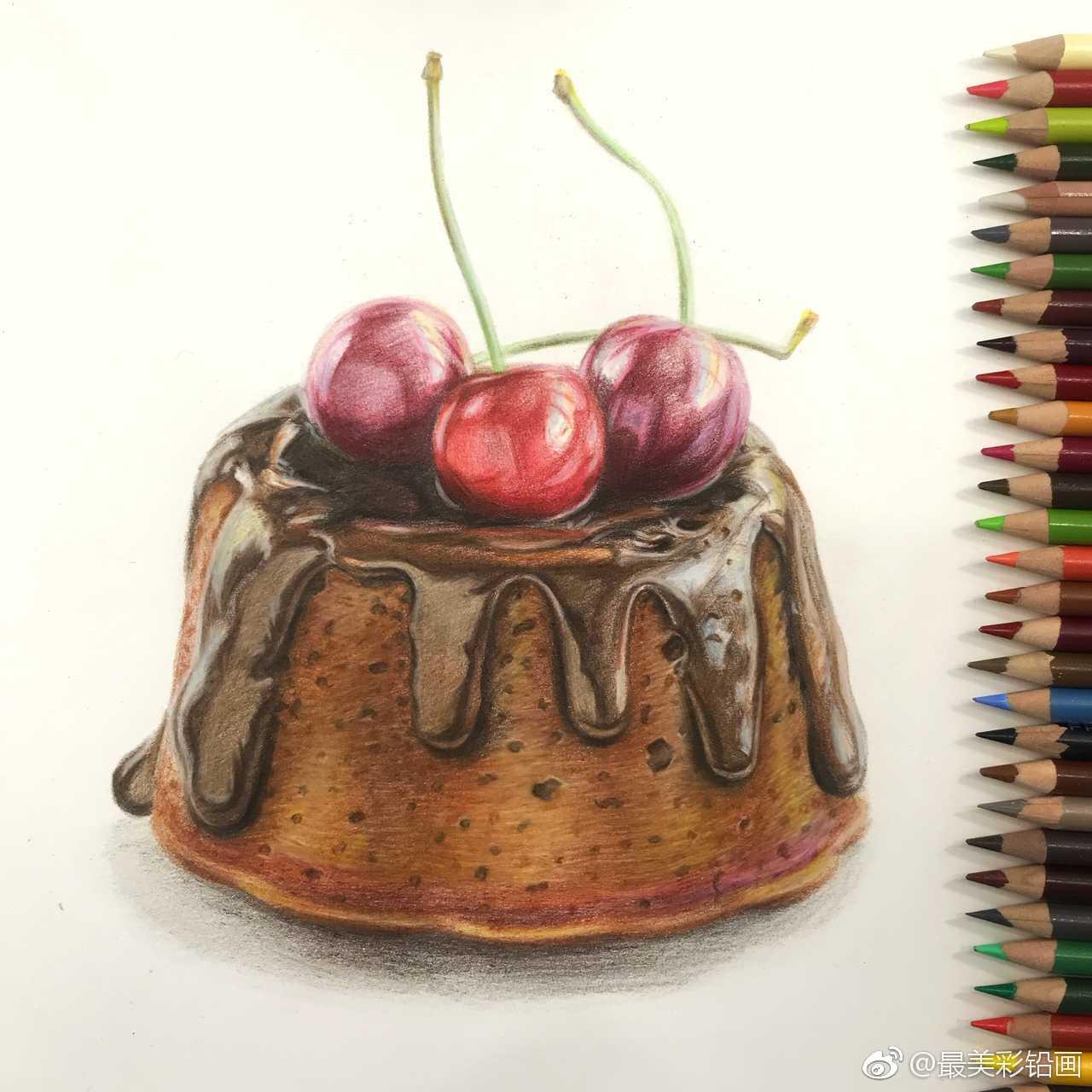彩铅画手绘作品 《小蛋糕》 作者@薛亮亮holiday