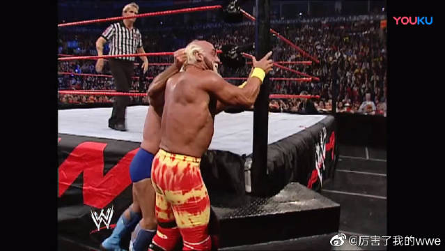 WWE弗莱尔被胡克霍根暴打,大秀哥出手相救,不料人家靠山是冷石!