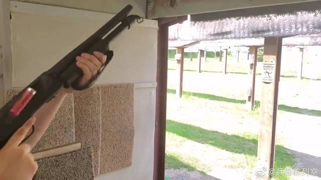 莫斯伯格M590霰弹枪,加装12号口径霰弹,靶场射击实测
