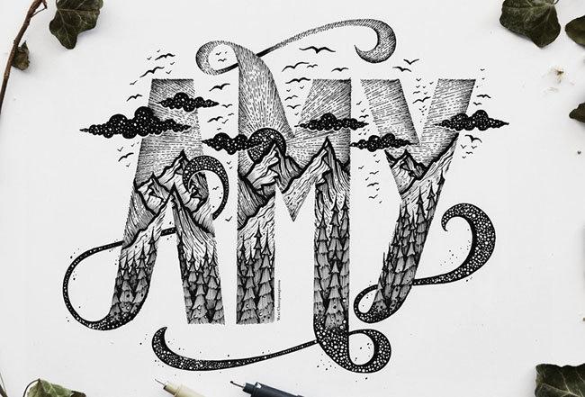 手绘字体字形设计作品欣赏!by - 设计师 meni