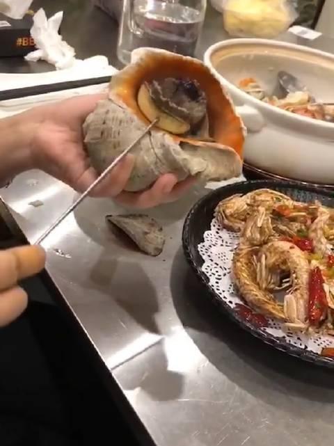 一斤的大海螺吃起来就是过瘾,不过有点腥,必须蘸酱,现在猪肉涨价