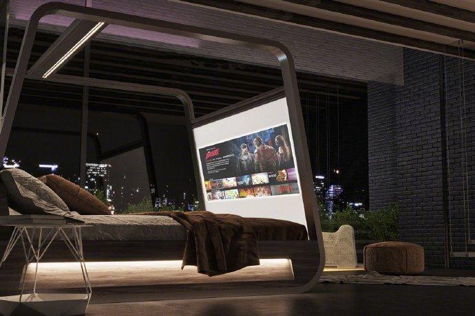 意大利一家家具公司推出的70寸电视床喜欢