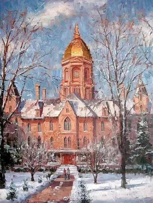 美国画家 F.J.Paprock城市街景油画