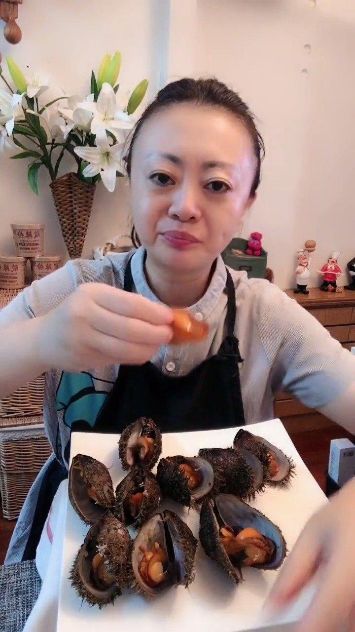 长毛海虹肉,吃播,大连姐姐