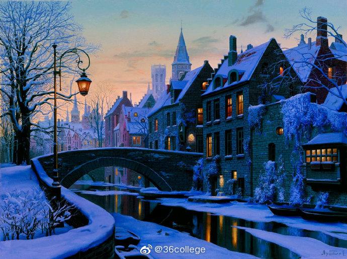 白雪覆盖下的欧洲小镇