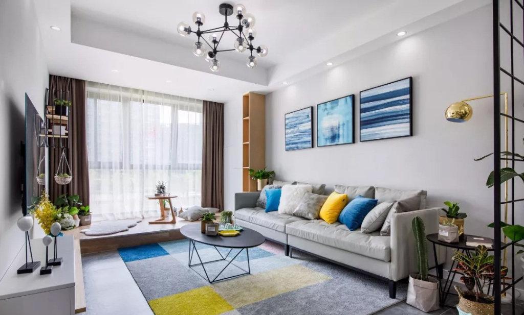 70㎡北欧风二居室设计,时尚自然的蓝灰色质感很不错!1391