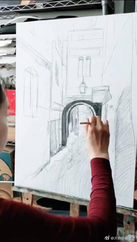 艺方学员熊昱彤油画风景作品,《摩洛哥街景》,会画画的都是神仙吧