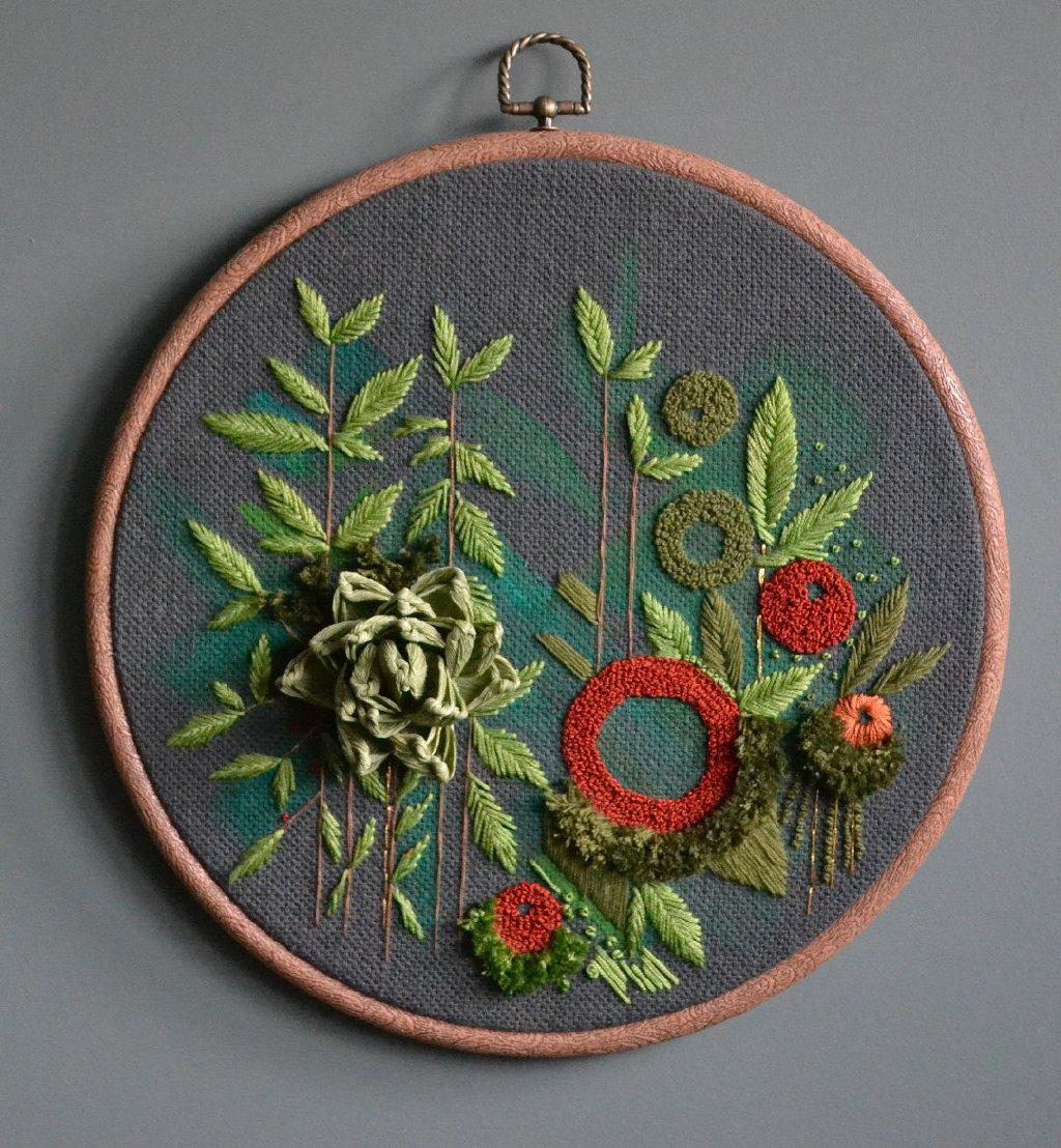 艺术家 Helen Wilde 的抽象刺绣作品