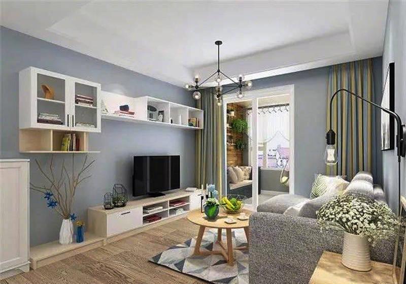 98㎡简约北欧风格家居,蓝灰色墙面的运用越来越多,很轻松的感觉!