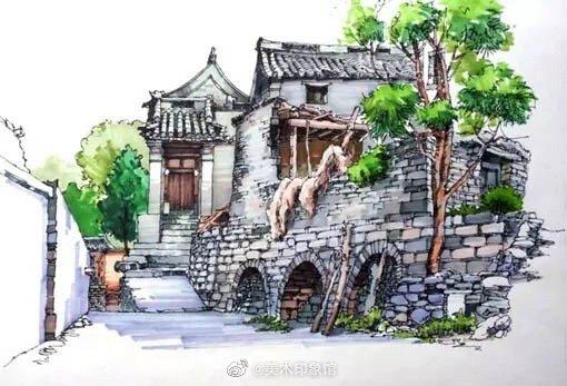 马克笔建筑绘画写生 ~ 作者:  卢国新