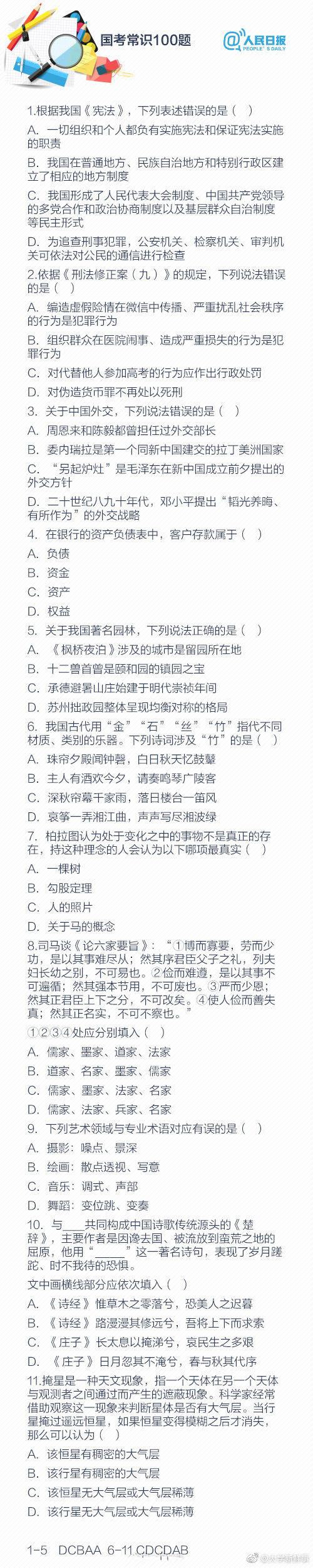 人民日报发布的公务员考试必背常识100题!